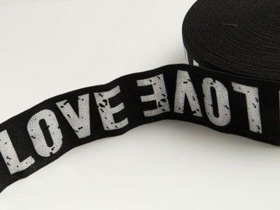 Gummiband mit Foliendruck ca. 40mm - Love - schwarz