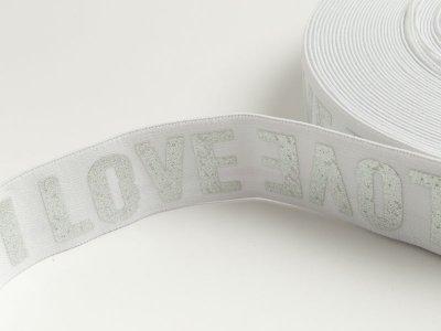 Gummiband mit Foliendruck ca. 40mm - Love - weiß