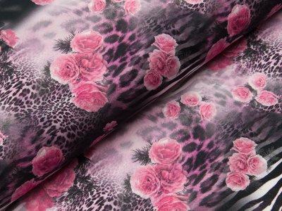 Jersey Digitaldruck - Animalprints mit Blumen  - schwarz/weiß/rosa