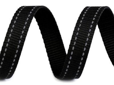Gurtband reflektierende Steppung 20 mm - uni schwarz