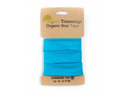 Popeline Organic Cotton Schrägband/Einfassband gefalzt 20 mm Breit x 5 Meter Coupon - uni türkis
