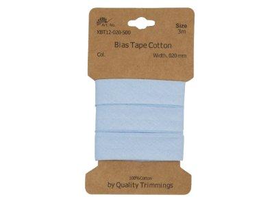 Schrägband/Einfassband Baumwolle gefalzt 20 mm - 3 m Coupon - uni babyblau