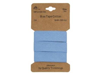 Schrägband/Einfassband Baumwolle gefalzt 20 mm - 3 m Coupon - uni helles blau