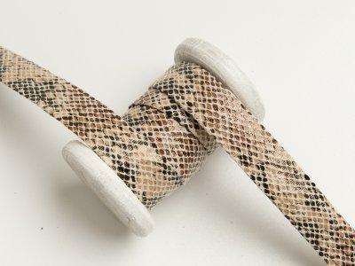 Einfassband/Falzband mit Foliendruck - Schlangenhaut - beige