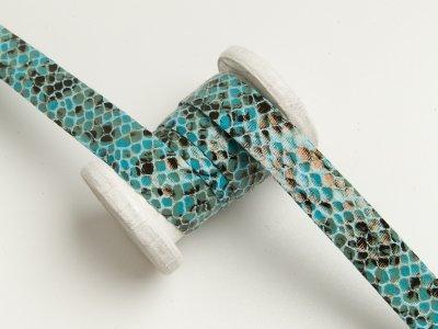 Einfassband/Falzband mit Foliendruck - Schlangenhaut - helles blau