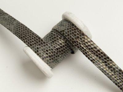 Einfassband/Falzband mit Foliendruck - Schlangenhaut - grau