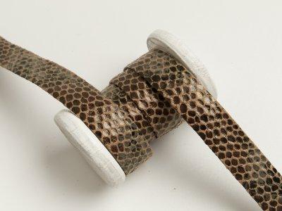 Einfassband/Falzband mit Foliendruck - Schlangenhaut - braun
