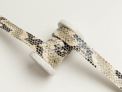 Einfassband/Falzband mit Foliendruck - Schlangenhaut - wollweiß