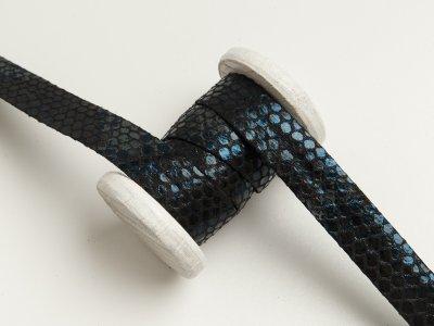 Einfassband/Falzband mit Foliendruck - Schlangenhaut - schwarz