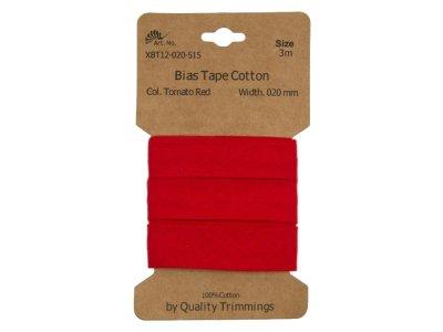 Schrägband/Einfassband Baumwolle gefalzt 20 mm - 3 m Coupon - uni tomatenrot
