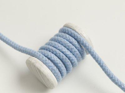 Baumwoll Kordel / Hoodie-Band mit Lurex Ø 10 mm - helles blau