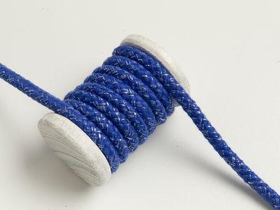 Baumwoll Kordel / Hoodie-Band mit Lurex Ø 10 mm - dunkles blau