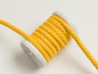 Baumwoll Kordel / Hoodie-Band mit Lurex Ø 10 mm - gelb