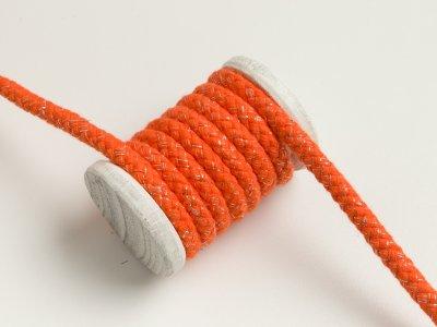 Baumwoll Kordel / Hoodie-Band mit Lurex Ø 10 mm - orange