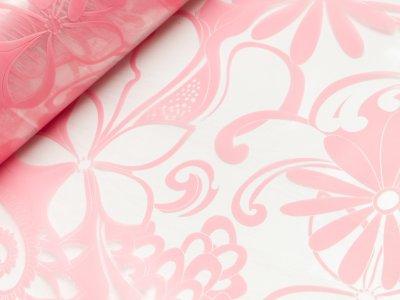 Regenjackenstoff Hilco Raincoat - Blumen - rosa/transparent