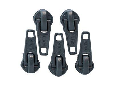 Slider/Zipper/Automatikschieber für Reißverschlüsse Größe 5 - Set 5 Stück - grau