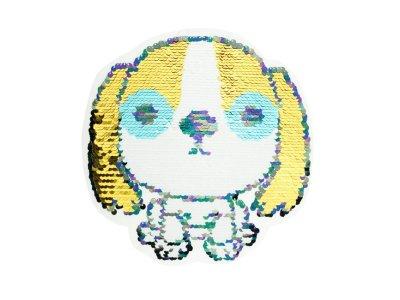 Applikation Hund mit Wendepailetten - weiß/gold  weiß/rot