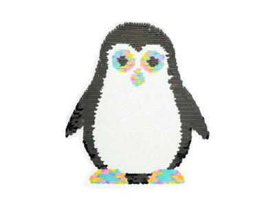 Applikation Pinguin mit Wendepailetten - bunt/rosa
