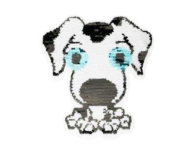 Applikation Hund mit Wendepailetten Hologramm - weiß/bunt