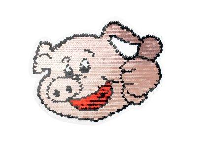 Applikation Schweinchen mit Wendepailetten - rosa /silber