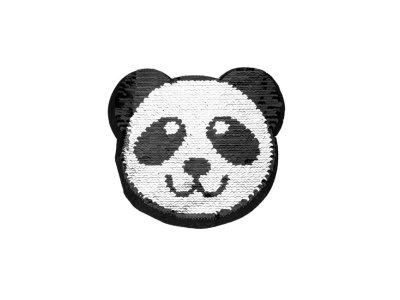 Applikation Pandabär mit Wendepailetten - silber/rosa
