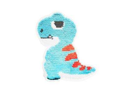 Applikation Dino mit Wendepailetten - blau/rot