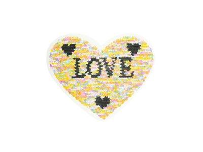Applikation Herz mit Wendepailetten - Love - pink/bunt