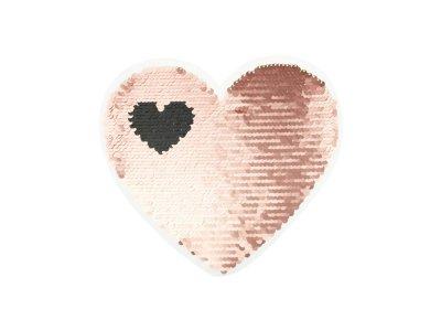 Applikation Herz in Herz mit Wendepailetten - rosa/silber