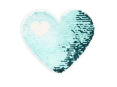 Applikation Herz in Herz mit Wendepailetten - blau/silber