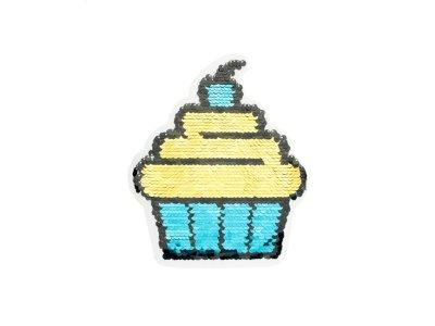 Applikation Cupcake mit Wendepailetten - türkis/rot
