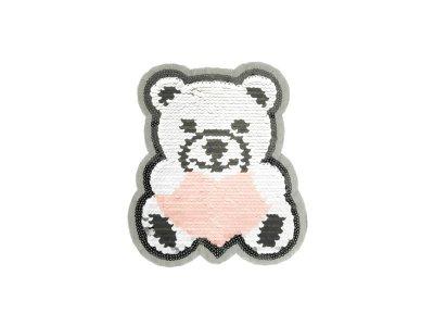 Applikation Teddybär mit Herz mit Wendepailetten - silber/rosa