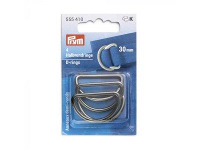 Prym 4 Halbrundringe / D-Ringe 30 mm - anthrazit