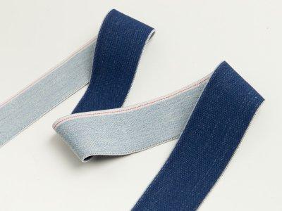 Gummiband in Jeansoptik mit weißem Randstreifen ca. 40mm - helles jeansblau