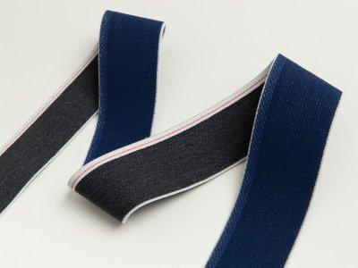 Gummiband in Jeansoptik mit weißem Randstreifen ca. 40mm - dunkles jeansblau