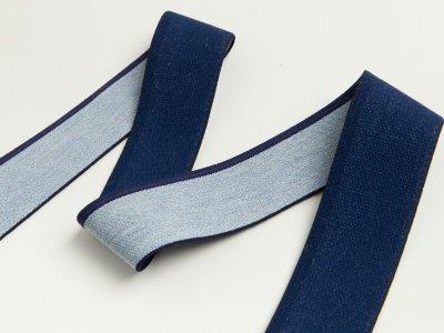 Gummiband in Jeansoptik mit blauem Randstreifen ca. 40mm - helles jeansblau