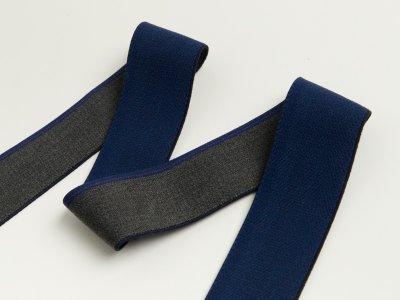 Gummiband in Jeansoptik mit blauem Randstreifen ca. 40mm - anthrazit