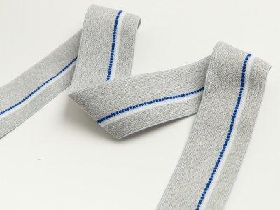 Gummiband - schmaler Streifen,gepunktete Linie ca. 40mm - meliert helles grau/blau/weiß