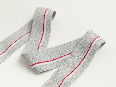 Gummiband - schmaler Streifen,gepunktete Linie ca. 40mm - meliert helles grau/rot/weiß