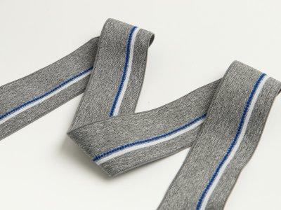 Gummiband - schmaler Streifen,gepunktete Linie ca. 40mm - meliert grau/blau/weiß