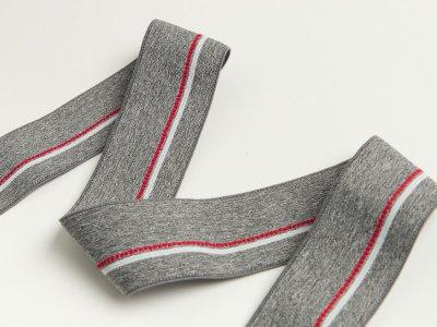 Gummiband - schmaler Streifen,gepunktete Linie ca. 40mm - meliert grau/rot/weiß