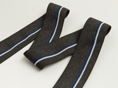 Gummiband - schmaler Streifen,gepunktete Linie ca. 40mm - meliert dunkles grau/blau/weiß