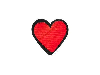 Applikation Herz mit Wendepailetten - rot/gold
