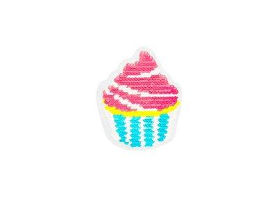 Applikation Cupcake mit Wendepailetten - pink/türkis
