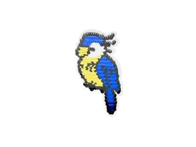 Applikation Papagei mit Wendepailetten - rot/silber  blau/gold