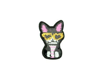 Applikation Katze mit Brille mit Wendepailetten - gold/schwarz/pink
