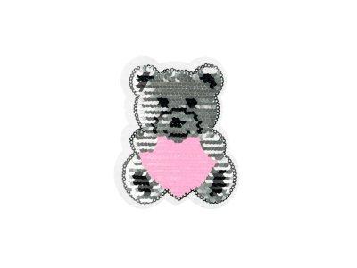 Applikation Teddybär mit Herz Wendepailetten - rosé/silber