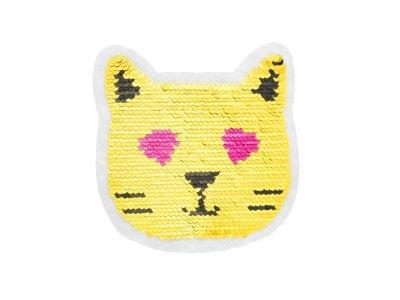 Applikation Katzen-Emoji mit Wendepailetten - gold/silber