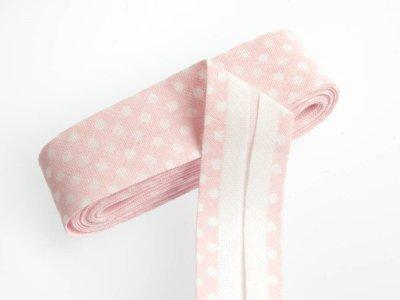Baumwoll Schrägband gefalzt 20 mm x 2 m mini Dots - rosa