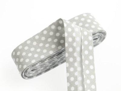 Baumwoll Schrägband gefalzt 20 mm x 2 m gepunktet - grau