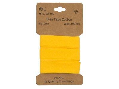 Schrägband/Einfassband Baumwolle gefalzt 20 mm - 3 m Coupon - uni gelb